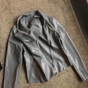 Grey Vegan Leather Moto Jacket from BlankNYC